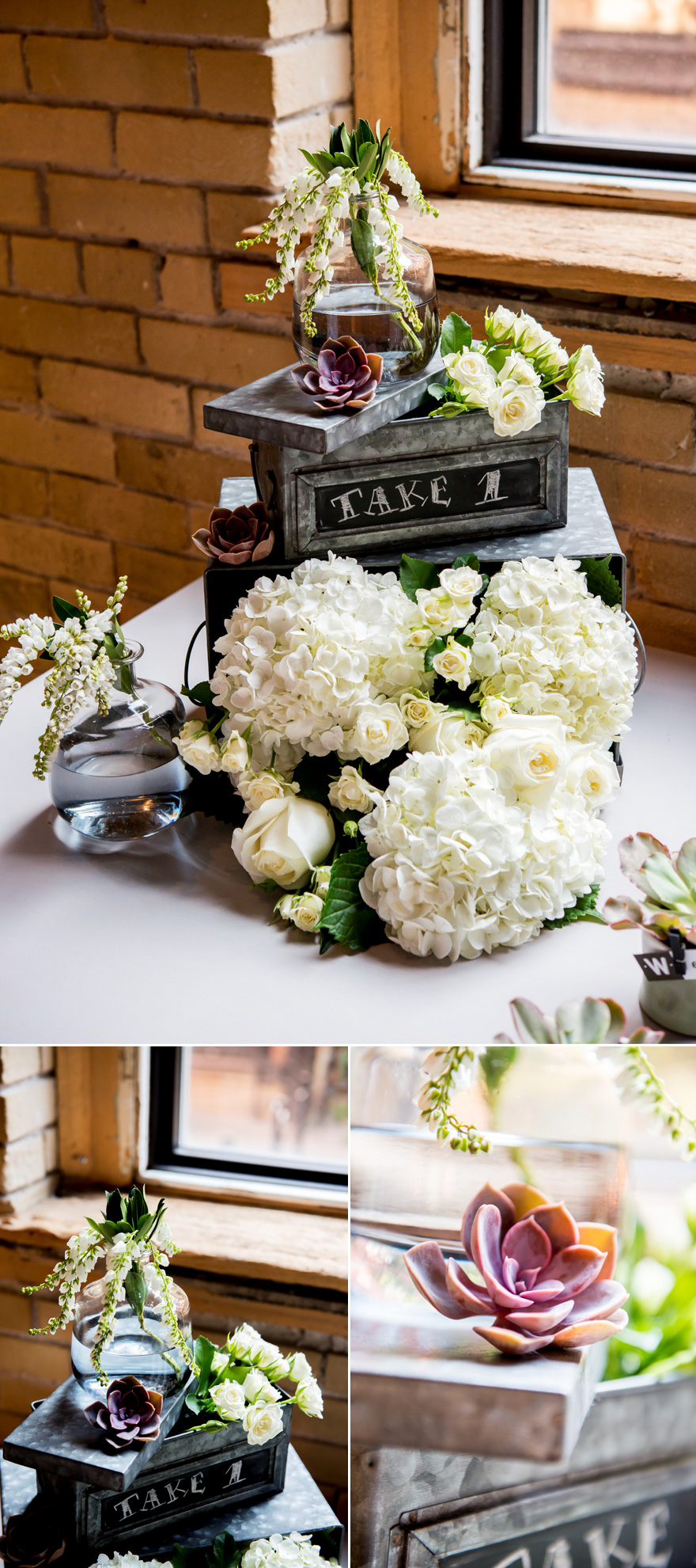 Industrial City Chic Wedding Centrepiece Idea with Succulents | Confetti.co.uk