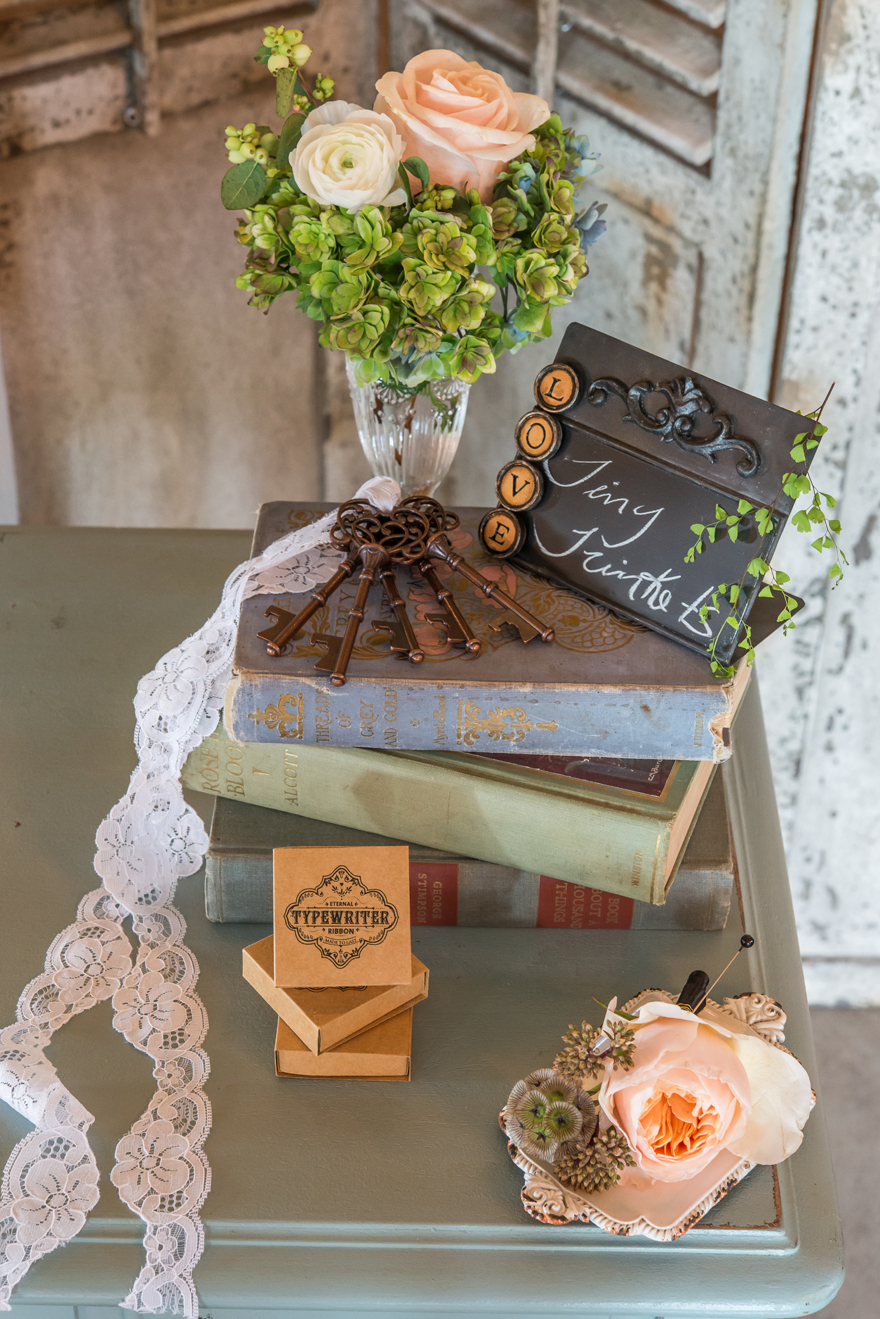 Pastel Vintage Shabby Chic Books and Flowers Wedding Centrepiece Ideas and Inspiration | Confetti.co.uk