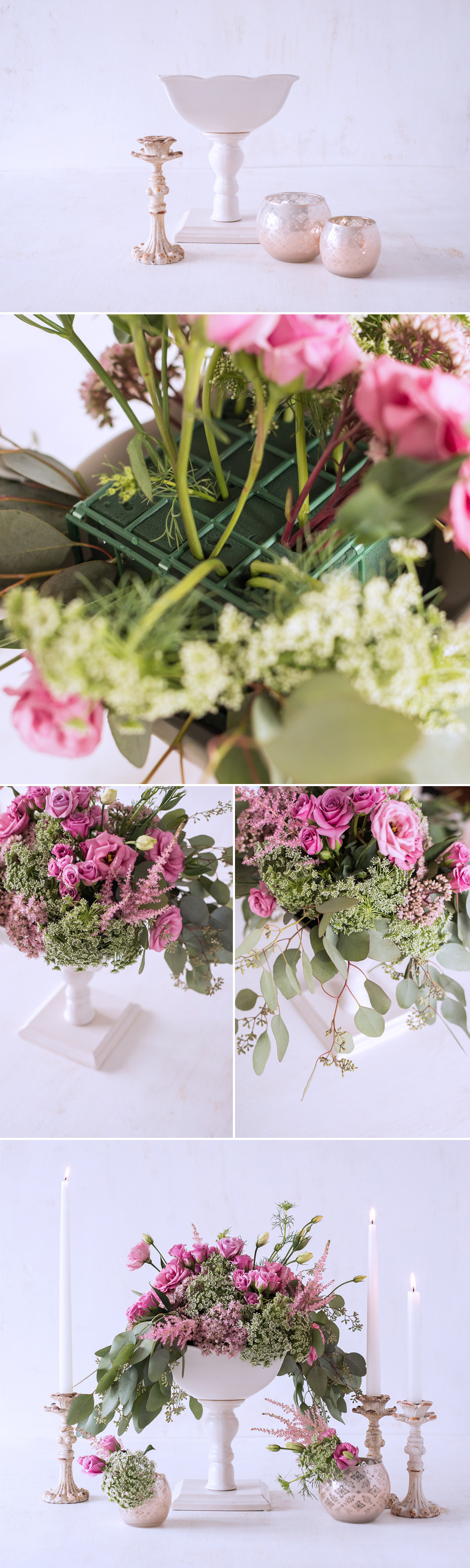 Pink and Green DIY Centrepiece with Lisianthus Astilbe Queen Anne's Lace Spray Roses Seeded Eucalyptus and Sedum | Confetti.co.uk