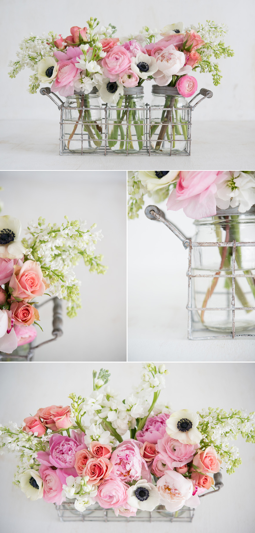 Pink and White Spring Wedding Table Centrepiece Flowers in Jars | Confetti.co.uk