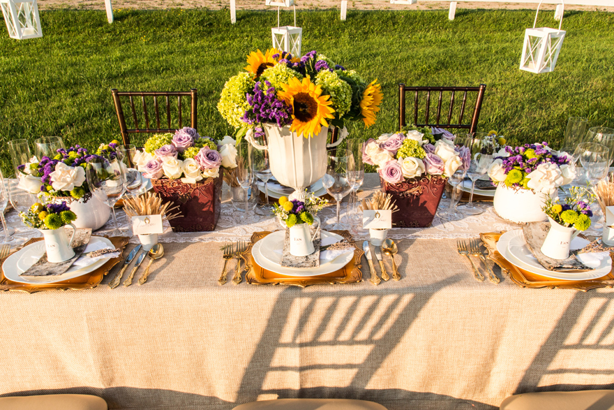 Rustic Country Summer Sunflower Wedding Table | Confetti.co.uk