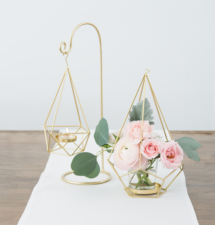 Spring Pink and Gold Geometric Wedding Table Decor | Confetti.co.uk