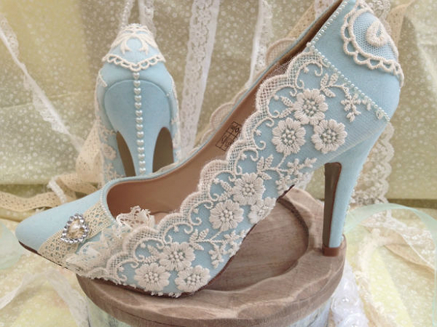 Blue vintage lace wedding shoes by Lace and Love