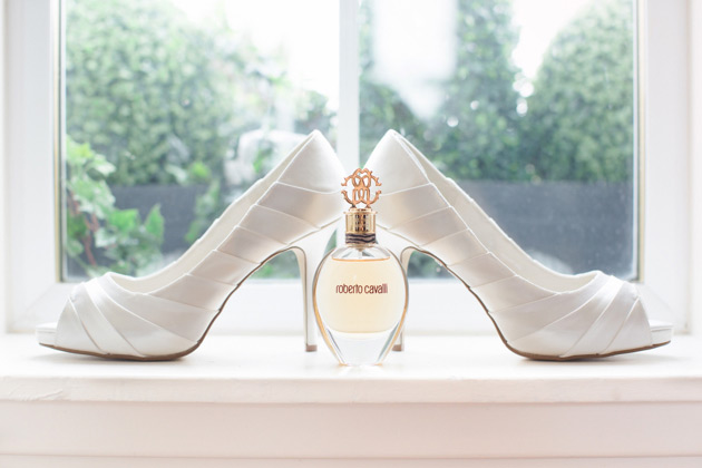 Robert Cavali perfume with white satin pep toe bridal shoes