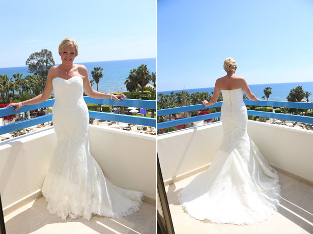 Bride in her strapless white fish tail wedding dress by La Sposa