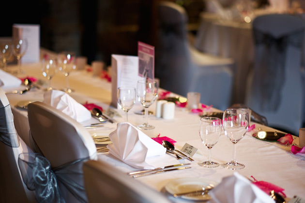 Fuchsia pink and silver wedding table