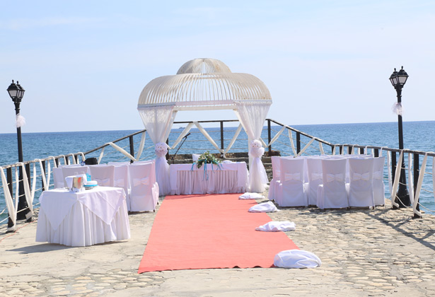 Wedding ceremony on the Sunset Pier at the Elias Beach hotel, Cyprus