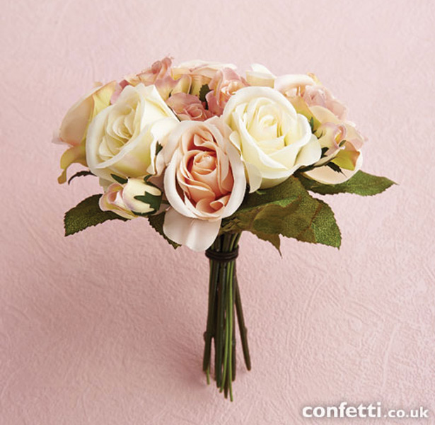 Vintage Rose Pink and Cream Bouquet
