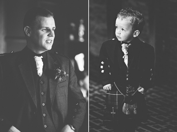The groom and younger wedding guest in kilts