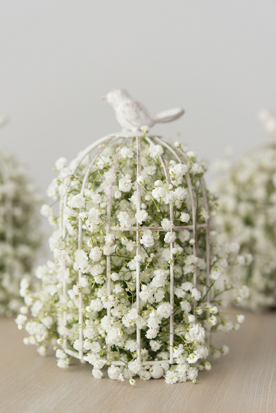 White and Green Small Metal Birdcage Filled with Baby's Breath Gypsophila   Confetti.co.uk