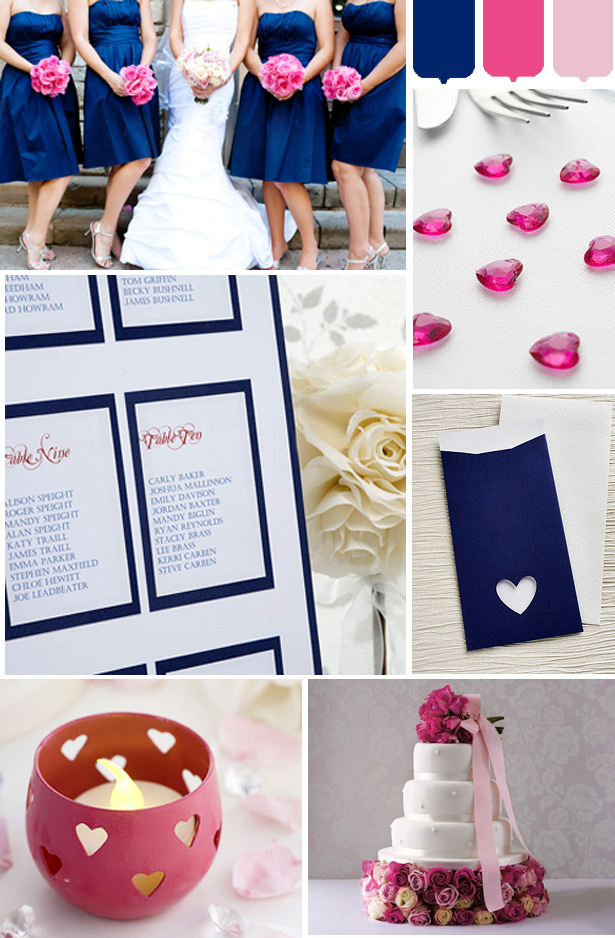Navy and pink wedding mood board Confetti.co.uk