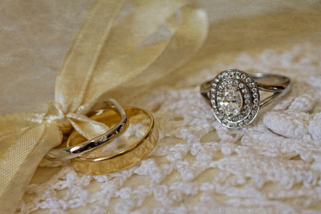 Gold and diamond wedding rings
