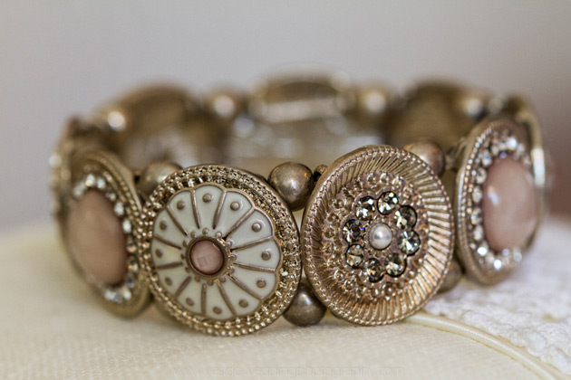 Vintage gold and pink bridal bracelet