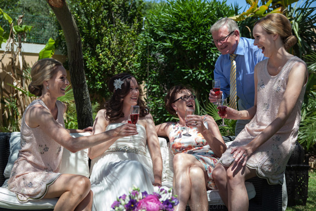 The bridal party enjoying a few drinks before the ceremony