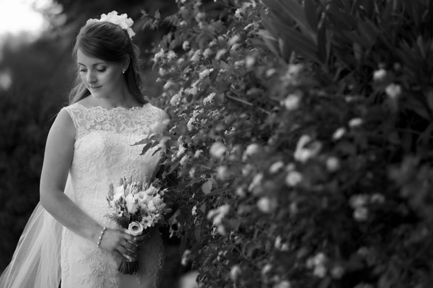 Black and white wedding photo of the bride