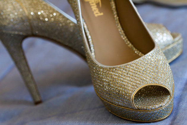 Gold pep toe bridal shoes from Buffalo