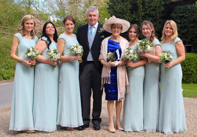 Bridesmaids in floor length pale sage green dress