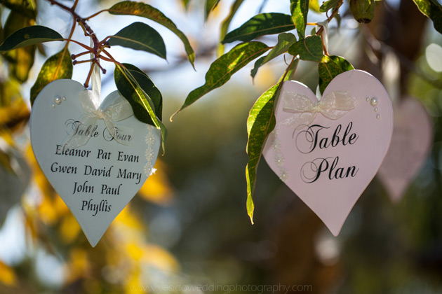 Heart shaped table planners