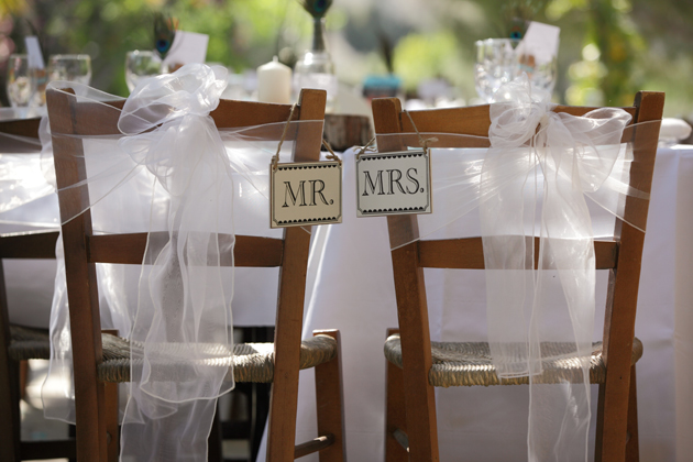 Vintage Mr and Mrs chair signs