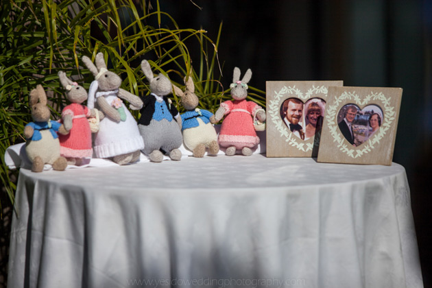 Family of rabbits and old wedding portraits