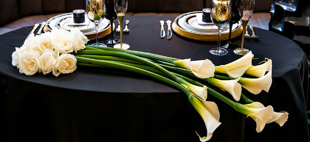 black art deco table lily