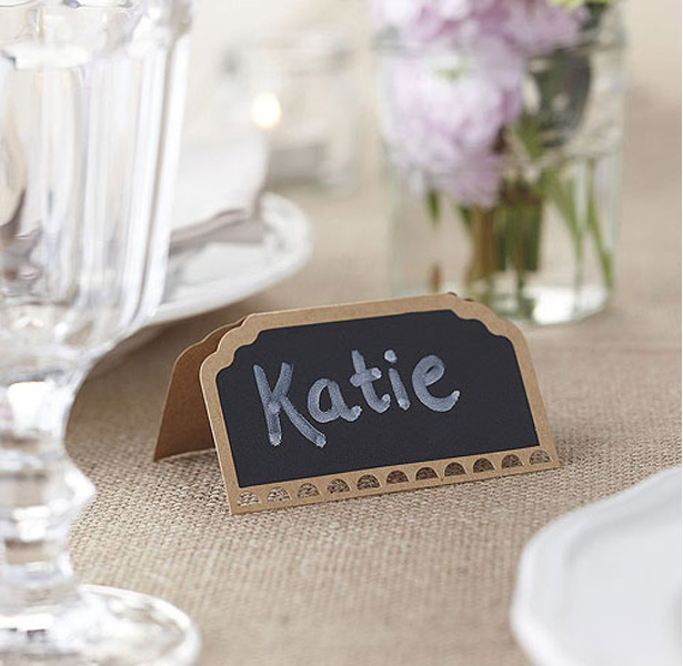 Kraft Place Cards With Chalkboard For Wedding Tables