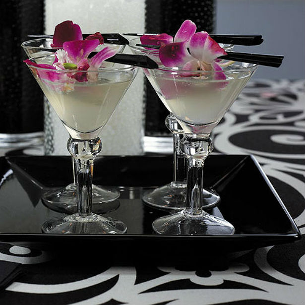 Martini glasses in black and white and pink