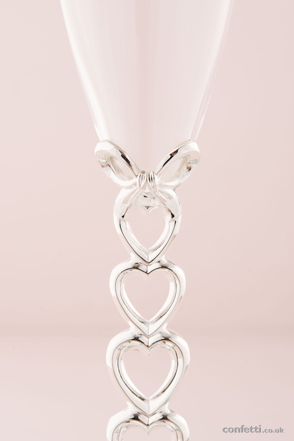 Silver Plated Stacked Hearts Glass Wedding Flutes