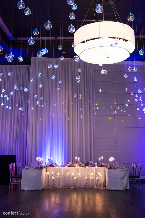 Candle lit table decor | Hanging glass globe decor | Confetti.co.uk