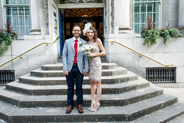 The newlyweds outside Chelsea Old Town Hall | Confetti.co.uk
