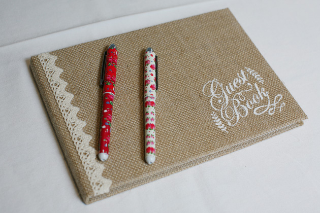 Rustic themed burlap wedding guest book | Confetti.co.uk
