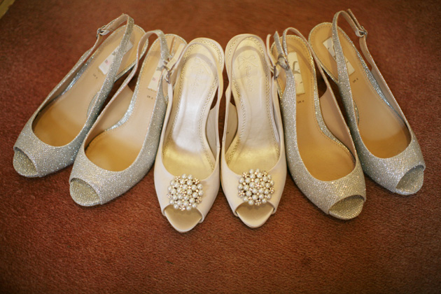 White jewelled peeptoe bridal shoes and silver peeptoe bridesmaid shoes | Confetti.co.uk