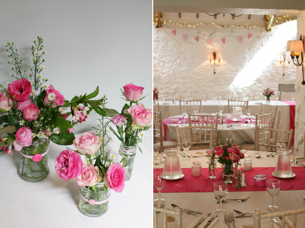 DIY wedding centrepieces | Pink and polka dot wedding table decoration | Confetti.co.uk