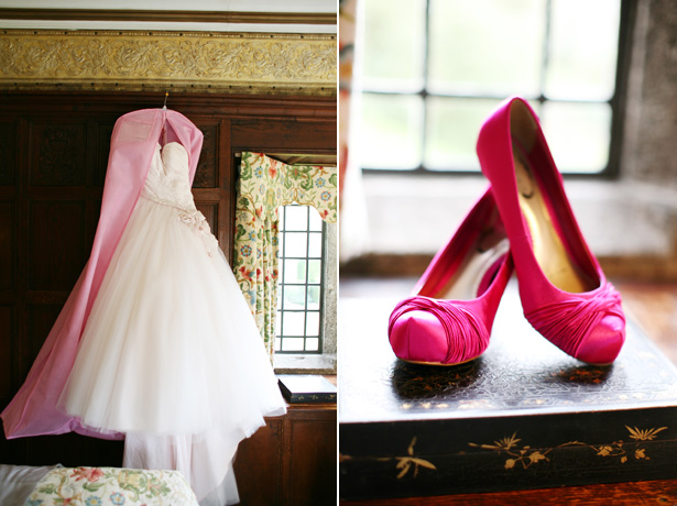 Blush pink wedding dress with hot pink satin bridal shoes | Confetti.co.uk