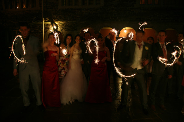 Wedding guests ending the night with sparklers | Confetti.co.uk