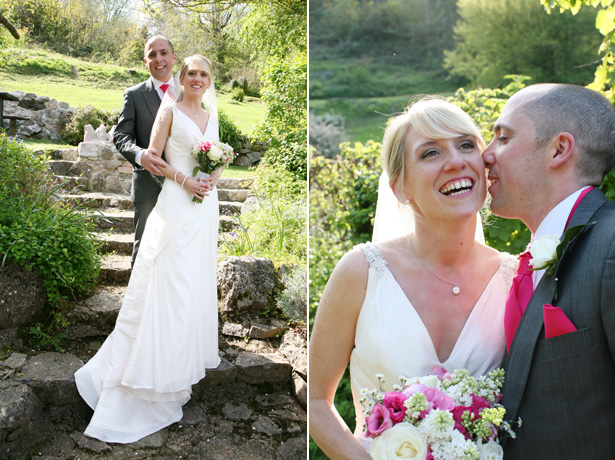 The bride and groom in beautiful manicured gardens   Ava Images   Confetti.co.uk