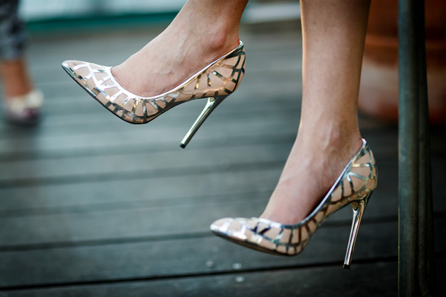 Gold and nude bridal shoes | Confetti.co.uk