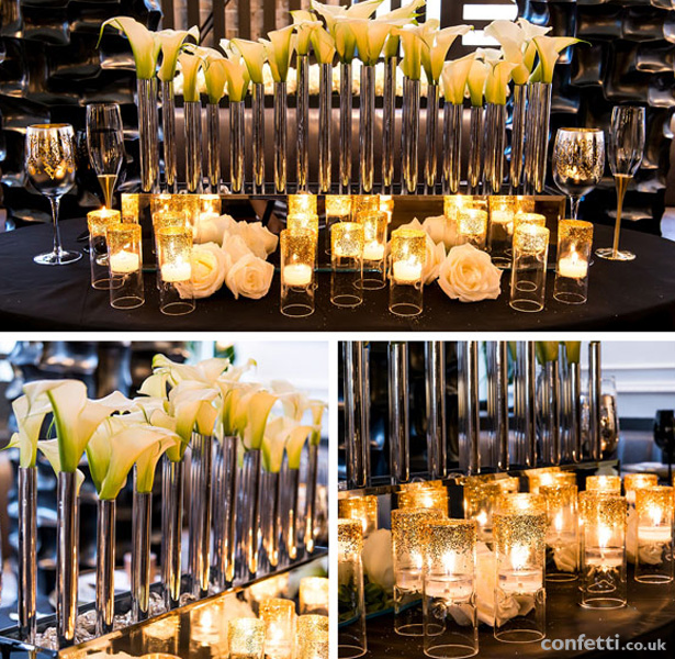 Art deco wedding theme | Lilly centrepiece and glitter candle holders Crystal chandleries and candle light | Confetti.co.uk