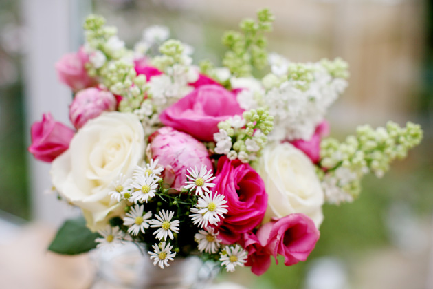 White and pink bridal bouquet with roses and wildflowers | Confetti.co.uk