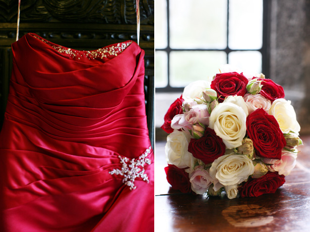 Red strapless bridesmaids dress and ivory and red bouquet | Confetti.co.uk