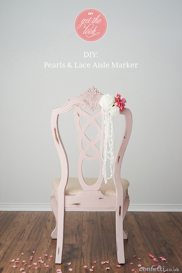 DIY Pearls and Lace Aisle Marker Get the Look