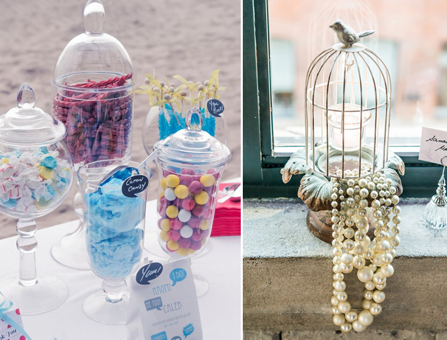 Tall wedding decor, jars, and birdcages   Confetti.co.uk