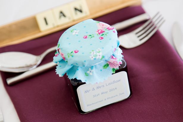 Mini personalised jam jar favours | Scrabble place names | Confetti.co.uk