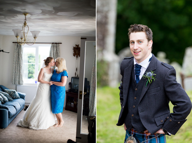 Groom with a thistle buttonhole and kilt | Confetti.co.uk