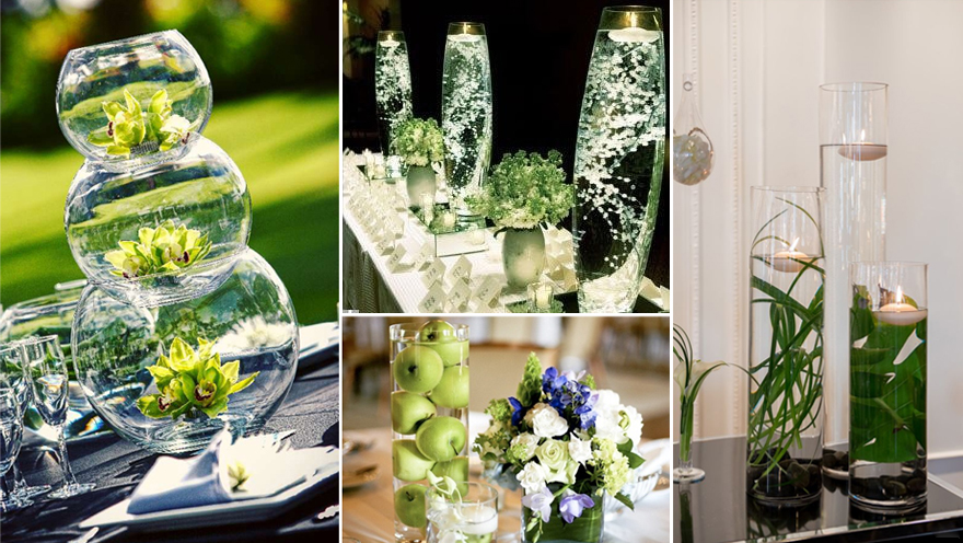 Green Centrepieces with Water   Confetti.co.uk