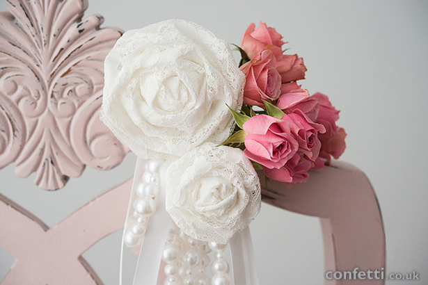 Lace, Pearls and Roses Chair Decoration