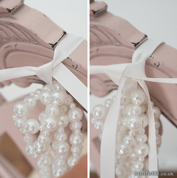 Pearls Chair Decoration with Ribbon