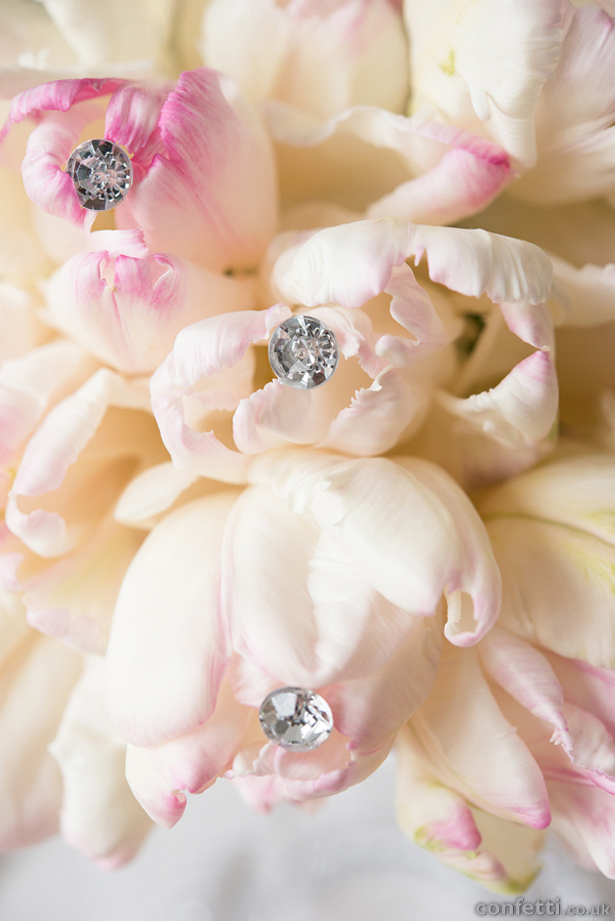 Pink and Cream Sparkling Flowers