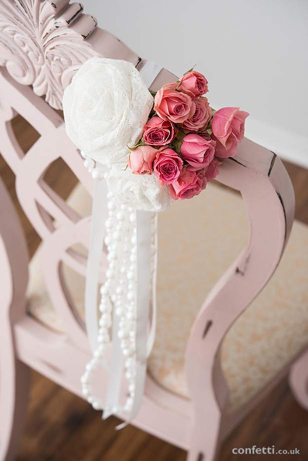 Pink and Ivory Pearls and Lace Chair Decoration