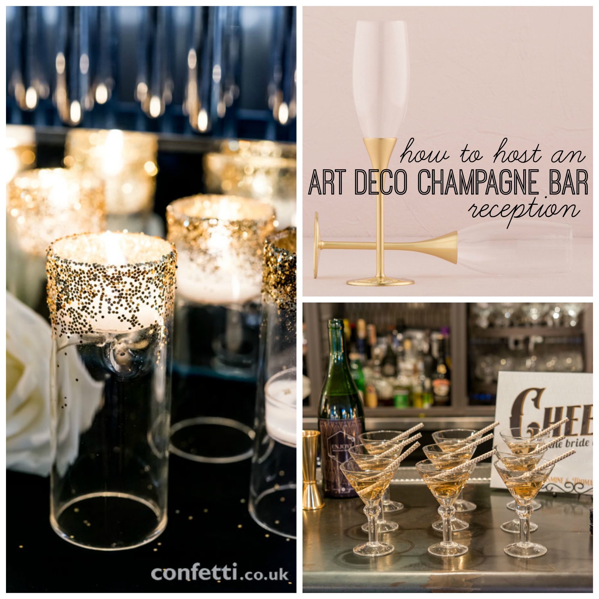 Host an art deco champagne bar wedding reception for Art deco wedding decoration ideas